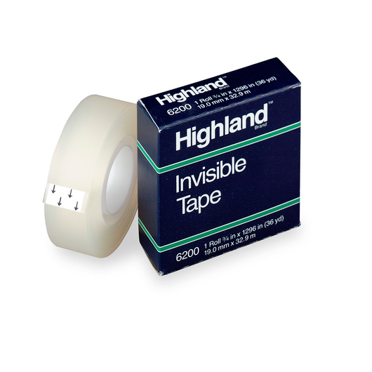 Highland™ Invisible Tape - 3/4 in.W x 36-yd. Roll