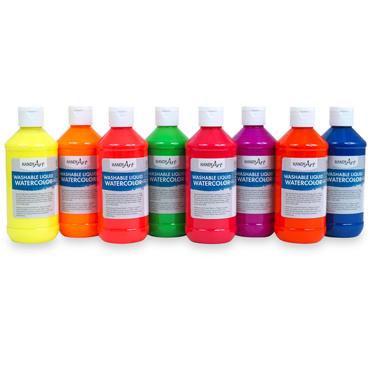 Handy Art® Washable Liquid Watercolors - Set of 8 - Fluorescent Colors
