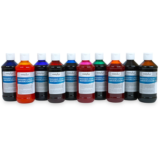 Handy Art® Washable Liquid Watercolors - Set of 10 - Primary Colors