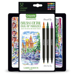 Crayola® Signature Dual-Ended Markers with Brush Tip/Ultra Fine Tips