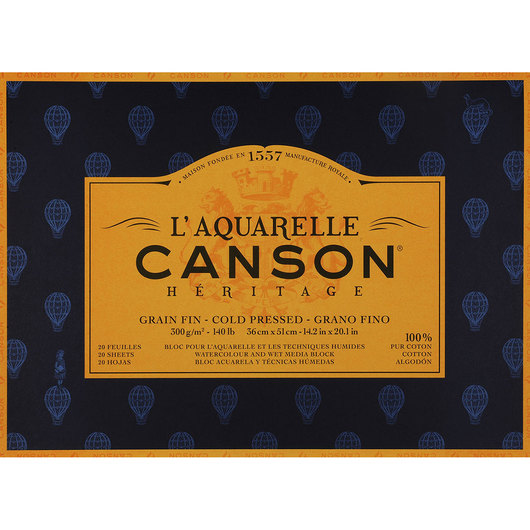 L'Aquarelle Canson® Héritage Watercolor Paper Block - 14 in. x 20 in.