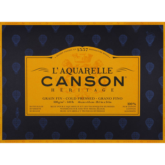 L'Aquarelle Canson® Héritage Watercolor Paper Block - 18 in. x 24 in.