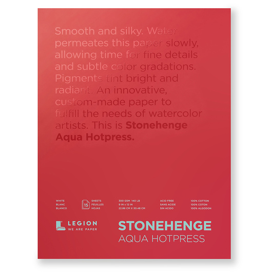 Stonehenge® Aqua Watercolor Hot Press Block Paper - 9 in. x 12 in. - 15 Sheets - 140 lb.