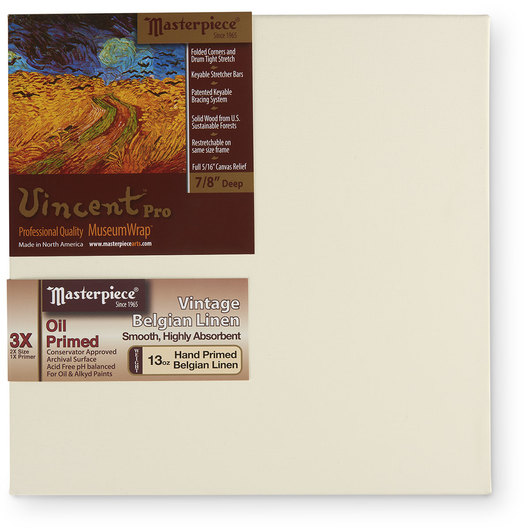 Vincent™ PRO Vintage™ Oil Primed Belgian Linen - 12 in. x 12 in.