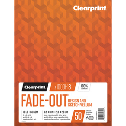 Clearprint 1000H Design Vellum Paper - 8-1/2 in. x 11 in. - 8x8 Grid
