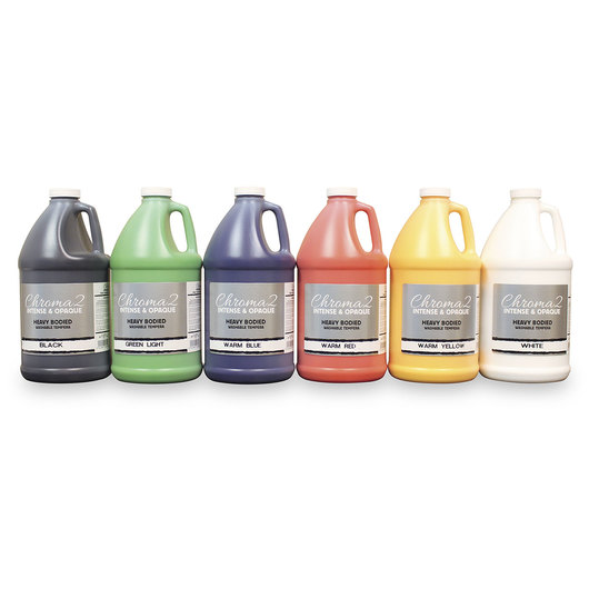 Chroma® 2 Heavy-Bodied Washable Tempera Paint - Half-Gallon Set - Warm Colors