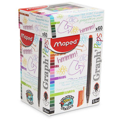 Maped® Graph-Peps Felt Tipped Fineliner Pens - Canister of 60