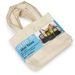 Natural Cotton Canvas Mini Tote Bags - Pkg. of 6