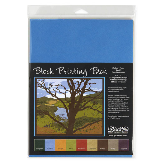 Black Ink™ Block Printing Mulberry Paper - 45 Sheets