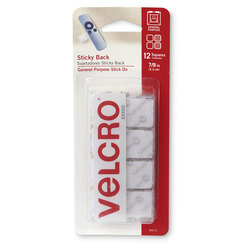 VELCRO® General Purpose Sticky Back Fasteners - Squares - 7/8 in. - White