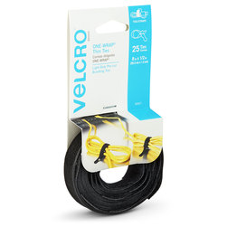 VELCRO® ONE-WRAP® Thin Ties - 8 in. x 1/2 in. - Black