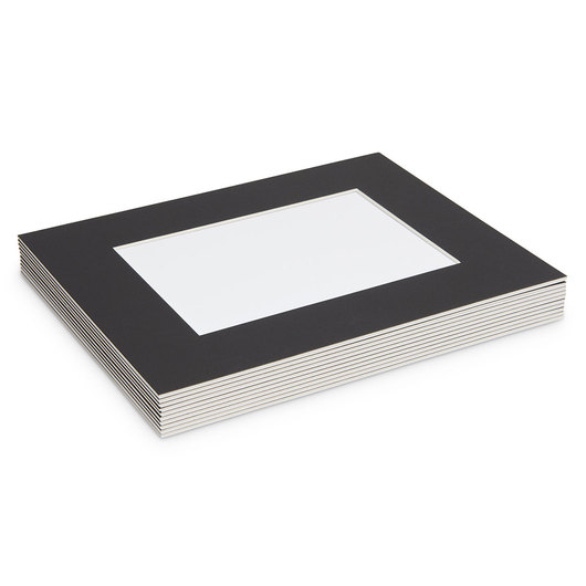 Beveled Edge Black Mats - Art Size 5 in. x 7 in.