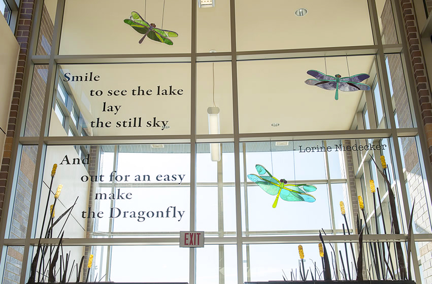 Smile / to see the lake / lay / the still sky / And / out for an easy / make / the dragonfly