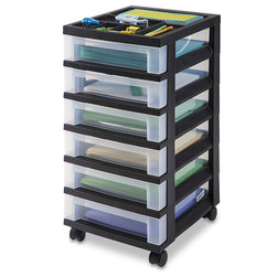 Mobile Storage 6-Drawer Cart - 12 in. L x 14-1/4 in. W x 26-1/2 in. H