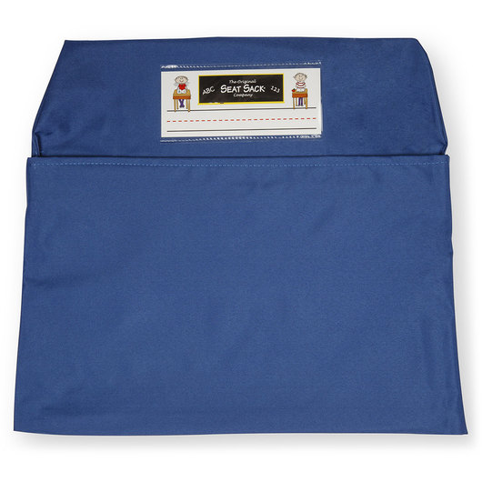 Classroom Pack of 25 Seat Sack™ Chair Pocket Organizers - 17 in. Large Size - Blue