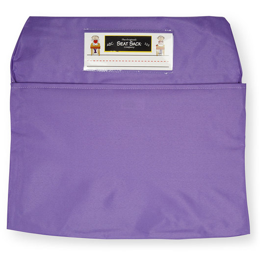 Classroom Pack of 25 Seat Sack™ Chair Pocket Organizers - 17 in. Large Size - Purple