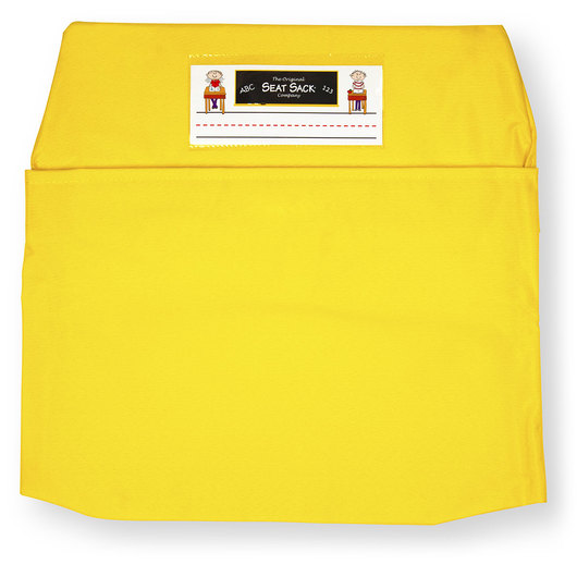 Classroom Pack of 25 Seat Sack™ Chair Pocket Organizers - 17 in. Large Size - Yellow