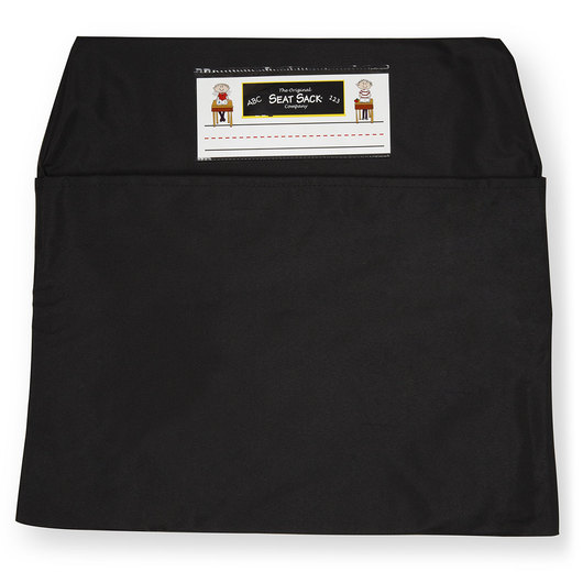 Classroom Pack of 25 Seat Sack™ Chair Pocket Organizers - 14 in. Standard Size - Black