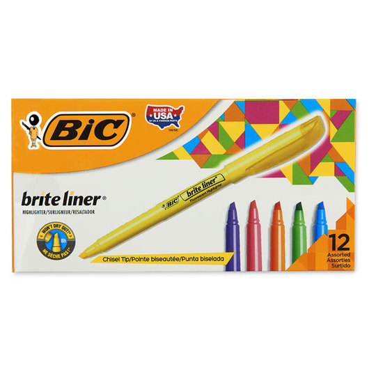 BIC® Brite Liner® Highlighters - Box of 12 - Assorted Colors
