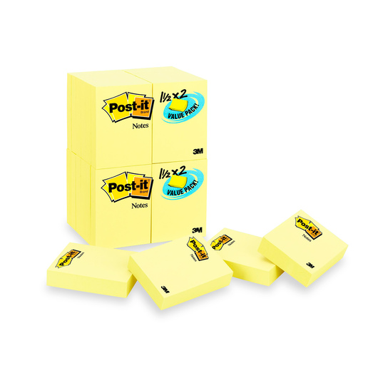 Post-It® Notes - 1-1/2 in. x 2 in. - Pack of 24 - Canary Yellow