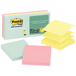 Post-It® Pop-Up Notes - 3 in. x 3 in. - Pack of 6 - Pastel Colors