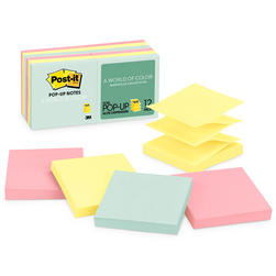 Post-It® Pop-Up Notes - 3 in. x 3 in. - Pack of 12 - Pastel Colors