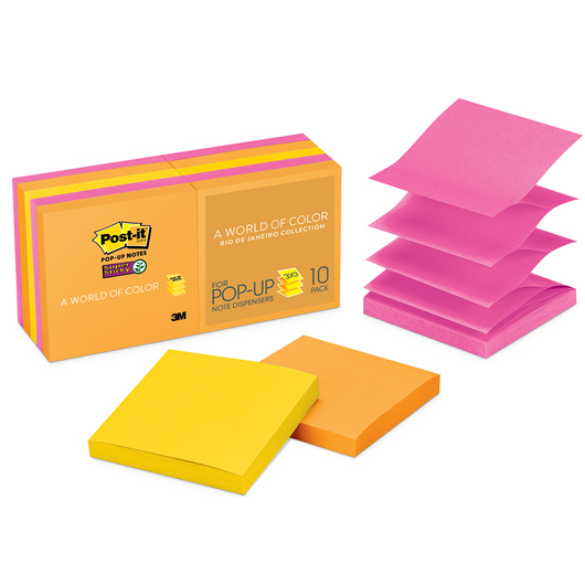 Post-It® Super Sticky Notes Rio de Janeiro Collection - Pack of 10 - 3 in. x 3 in.