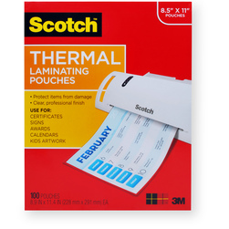 Thermal Pouches - 3 mil - Holds Sheets Up To 8-1/2 x 11 in. - Pack of 100