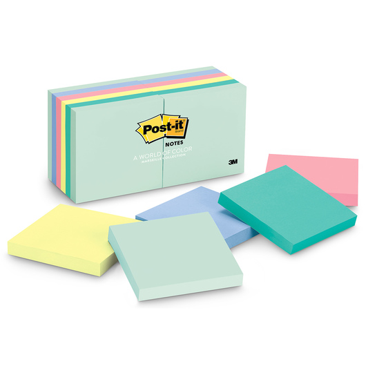 Post-It® Notes - 3 in. x 3 in. - Pack of 12 - Marseille Collection