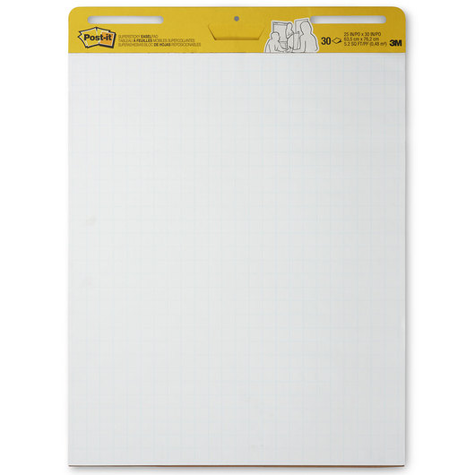 Post-It® Easel Pad - 25 in. x 30 in. - 30 Sheets - White With Blue Grid - Pack of 4
