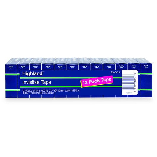 Highland® Invisible Tape - 3/4 in. x 1,000 in. Roll - Pack of 12