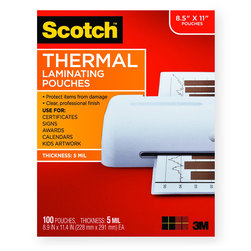 Thermal Pouches - 5 mil - Holds Sheets Up To 8-1/2 x 11 in. - Pack of 200