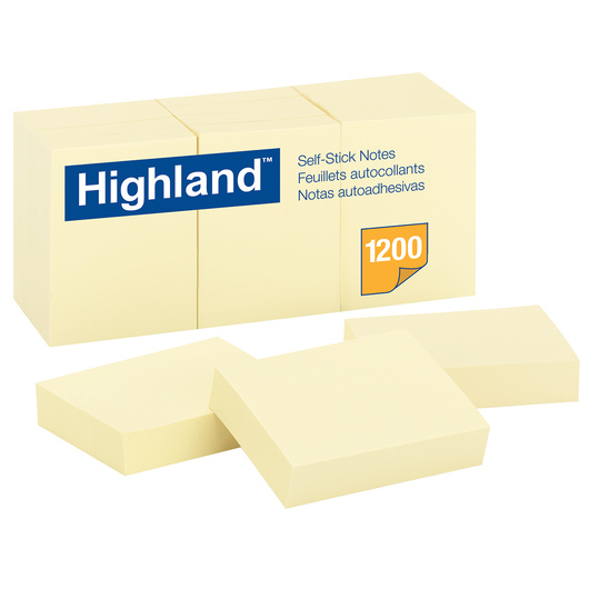 Highland™ Self-Stick Notes - 1-1/2 in. x 2 in. - Pack of 12 Pads - 100 Sheets/Pad - Yellow