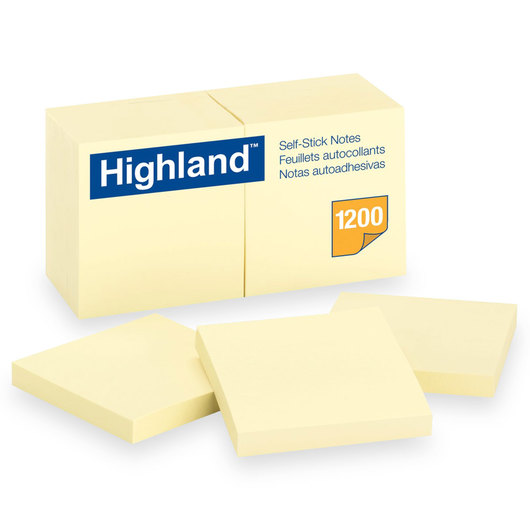 Highland™ Self-Stick Notes - 3 in. x 3 in. - Pack of 12 Pads - 100 Sheets/Pad - Yellow