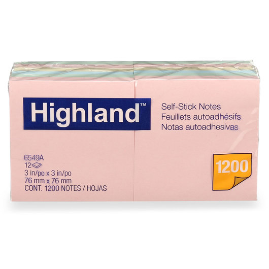 Highland™ Self-Stick Notes - 3 in. x 3 in. - Pack of 12 Pads - 100 Sheets/Pad - Pastel Colors