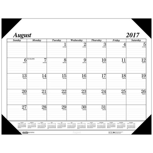 Academic Black and White Desk Pad - 17-Month Calendar