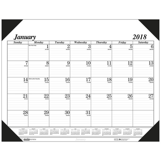 Academic Black and White Desk Pad - 12-Month Calendar