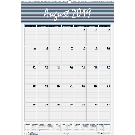 Academic Monthly Wall Calendar - 12 in. x 17 in.
