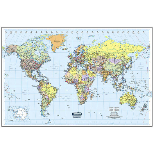 Laminated World Map - 50 in. x 33 in.