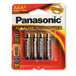 Panasonic Alkaline Plus Power Batteries - Pack of 4 AAA