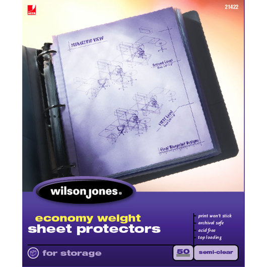 Sheet Protectors - Economy Weight - Pack of 50 - Semi-Clear