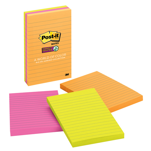 Post-It® Super Sticky Notes - Rio de Janeiro Collection - Pack of 3 - 4 in. x 6 in.