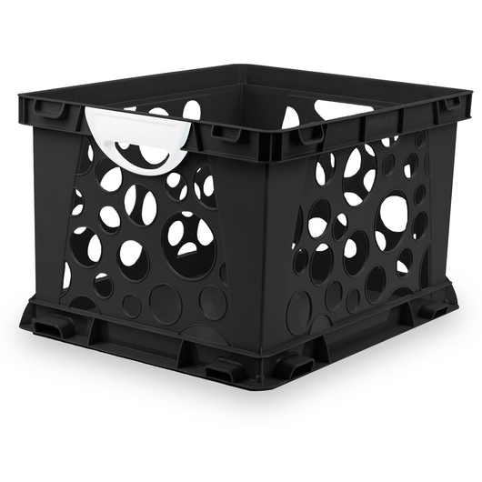 Premium Interlocking Crate with Handles - 17-1/4 L x 14-1/4 W x 10-1/2 H - Black