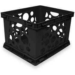 Premium Interlocking Crate - 17-1/4 in. L x 14-1/4 in. W x 10-1/2 in. H - Black