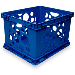 Premium Interlocking Crate - 17-1/4 in. L x 14-1/4 in. W x 10-1/2 in. H - Blue