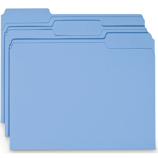 Colored File Folders - 1/3-Cut Tabs - Blue
