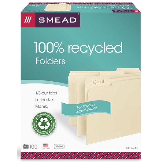 Manila File Folders - Recycled 1/3-Cut Tab - Letter Size