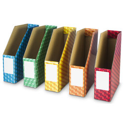 Magazine Files - 11 in. x 3-5/16 in. x 12-5/8 in. - Set of 6 - Assorted Colors