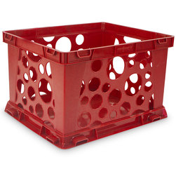 Premium Interlocking Crate - 17-1/4 in. L x 14-1/4 in. W x 10-1/2 in. H - Red