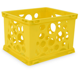 Premium Interlocking Crate - 17-1/4 in. L x 14-1/4 in. W x 10-1/2 in. H - Yellow